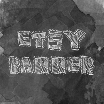 Etsy Banner : Etsy Shop Banner, 760X100, Shop Name, Watercolor, Black and White, Graphic Design, Cartoon, Fun