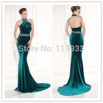 2016 Luxury Crystals Beaded Mermaid Backless Velvet Halter Sexy Long robe de soiree Prom Party Evening Dresses Gowns Custom Made