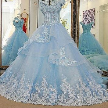 Bling Bridal Gowns A Line Beading Lace Up Back Ivory and Blue Organza Wedding Dress