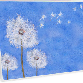 'flying dandelion watercolor painting' Laptop Skin by ColorandColor