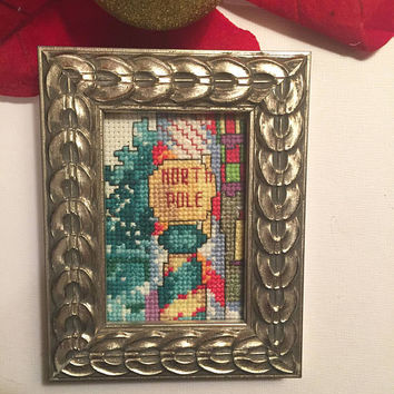 Christmas completed cross stitch, North Pole finished cross stitch, Mini art, Framed artwork, Christmas gift, hand stitched Holiday Sampler