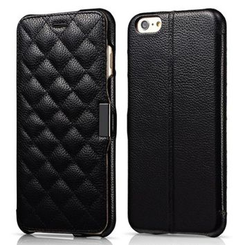iPhone 6 Plus Case, Benuo [Check Pattern] [Litchi Grain] Genuine Leather Flip Cover [Card Holder], Folio Case [Stand Feature] with Magnetic Closure for iPhone 6 Plus 5.5 inch (Black)