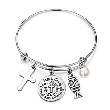 bobauna Christian Bracelet With God All Things Are Possible Religious Jewelry Inspirational Gift