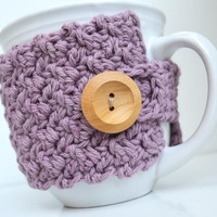 Cotton Coffee Mug Cozy, Lilac, Crocheted Mug Cozy, Cup Sleeve
