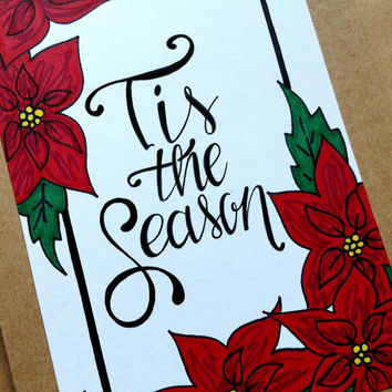 Hand lettered and hand drawn 'Tis the Season' holiday card, blank Kraft Christmas card, poinsettia holiday card.