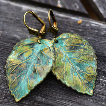 Large Leaf Earrings,Jewelry Gift,patina large dangle earrings, Brass Earrings,Wedding Earrings