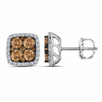 14kt White Gold Women's Round Brown Color Enhanced Diamond Square Cluster Earrings 2.00 Cttw - FREE Shipping (US/CAN)