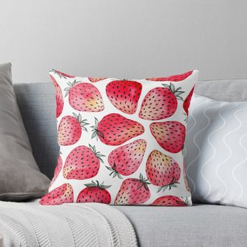 'Strawberries watercolor and ink' Throw Pillow by Katerina Kirilova