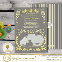 Gender Neutral Elephant Baby Shower , Elephant Invites, Safari Baby Shower, Yellow and Gray, template, Editable|DIY INSTANT DOWNLOAD