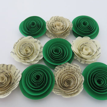 "bright Green and Book page Paper flowers, 10 1.5"" roses, St. Patrick's Day Decor, Shamrock color theme, Birthday party table decorations"