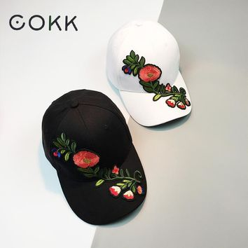 COKK Flower Baseball Cap Women Floral Snapback Hats For Female Hip Hop China Style Sun Visor Cap Sunhat Femmes 2017 New Summer