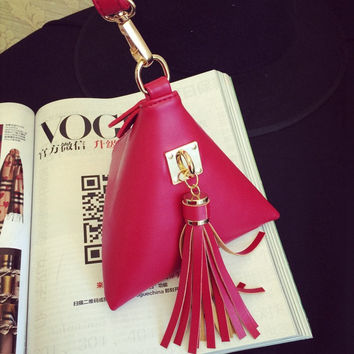 Bags Korean Tassels Simple Design Phone Purse [6267948038]