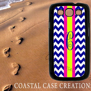 Navy Blue Chevron Pink and Green Stripes Samsung Galaxy S3 Hard Plastic or Rubber Cell Phone Case Cover Original Monogram Design