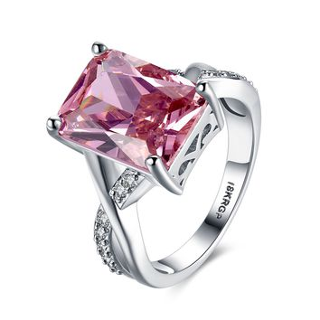 DROLE Unique Fashion Jewelry Pink Zircon CZ Stone Silver Ring Wedding Engagement Rings For Women Mothers Day Gift