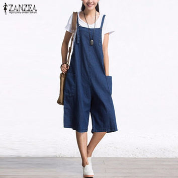 Sleeveless Adjustable Strap Pockets Button Wide Leg Denim Blue Retro Rompers Calf Length Overalls