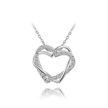 Platinum Double Diamond Heart Pendant Necklace