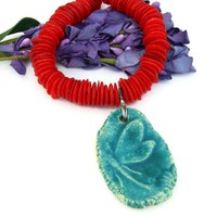 Teal Dragonfly Pendant and Red Coral Necklace, Rustic Handmade Gemstone Sterling Jewelry