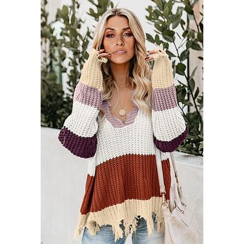 Fashion Red Colorblock Distressed Sweater