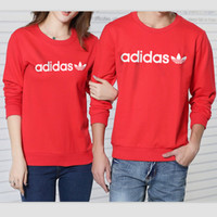 ADIDAS Set head fleece couple loose long-sleeved round collar cotton Red