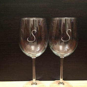 Personalized Custom Engraved Wine Glasses: Set of (2) Housewarming Gift, Wedding Gift