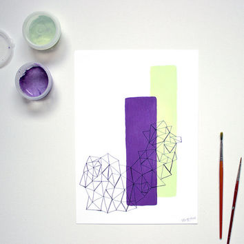 A4 Geometric Art Radiant Orchid and Mint, Triangle Shapes