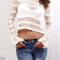 White Lace Long Sleeve Tee