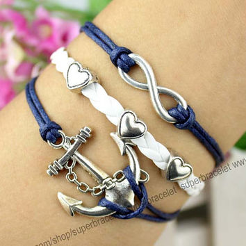 Navy anchor bracelet - infinity charm bracelet - friendship love bracelet - white - navy blue leather cord - girlfriend and BFF