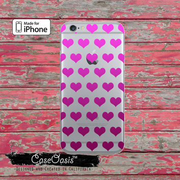 Purple Pink Ombre Hearts Pattern Love Cute Tumblr Clear Rubber Phone Case For iPhone 6 and iPhone 6 Plus + Transparent Crystal Custom Case