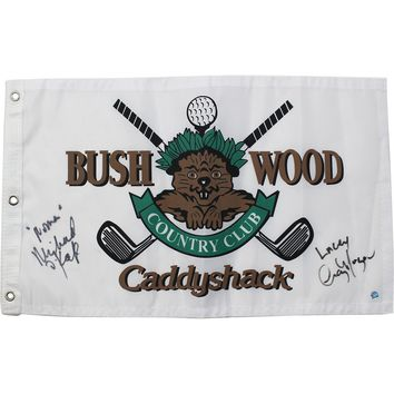 Cindy Morgan/Michael OKeefe Dual Signed CaddyShack Golf Pin Flag w/ Lacey Noonan Insc