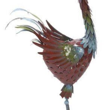 Alluring Metal Standing Rooster - 69824 by Benzara
