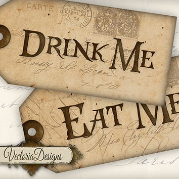 Drink Me Tags Eat Me Tags instant download printable gift tags digital Collage Sheet VD0352