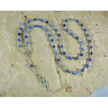 Zeus Prayer Bead Necklace in Sodalite: Greek God of Sky, Storm, Lightning, Justice