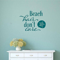 Beach Hair Don't Care with Sand Dollar Vinyl Wall Words Decal Sticker Graphic