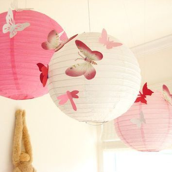 Butterflies Lantern Paper Wall Decor Art Spring by simplychiclily