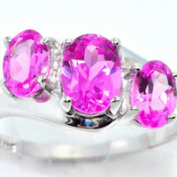 2 Carat Genuine Pink Sapphire Oval Ring .925 Sterling Silver Rhodium Finish White Gold Quality