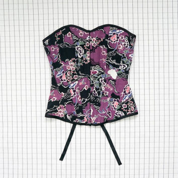90's Corset Top, Purple Floral Print Lace Up Corset, Crop Top, Tube Top, 90s Top, Soft Grunge, Goth, Aesthetic, Cyber, Tumblr, S