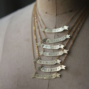Custom Banner Necklace, Hand Stamped, Personalized