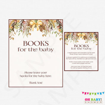 Fall Baby Shower, Bring a Book Instead of Card, Floral Baby Shower, Book Request, Autumn Baby Shower, Printable Baby Shower, Watercolor FF01