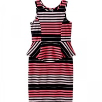 STRIPE NEON PEPLUM DRESS