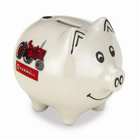 Polyresin Farmall Tractor Logo Piggy Bank