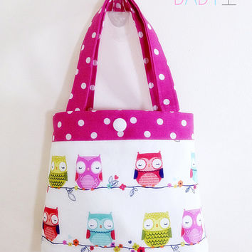 Toddler tote toddler purse little girls purse child tote owl tote owl purse pink purse little girl birthday gift toddler gift baby gift