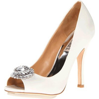 Badgley Mischka Womens Satin Open-Toe Pumps