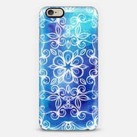 Cobalt Garden - white floral painted doodles on blue watercolor iPhone 6 case by Micklyn Le Feuvre | Casetify