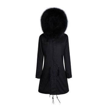Raccoon Fur Collar Parka Jacket in Black with Matching Fur 3/4