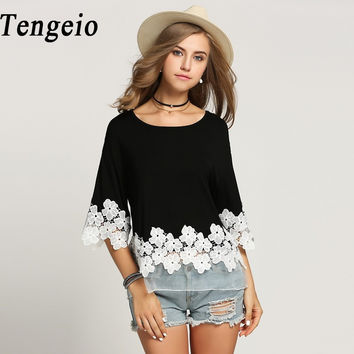Plus Size Women Clothing Top Femme Net Yarn 3/4 Batwing Sleeve Summer Casual white floral Lace Blouse Shirt Camisas Mujer 8YC