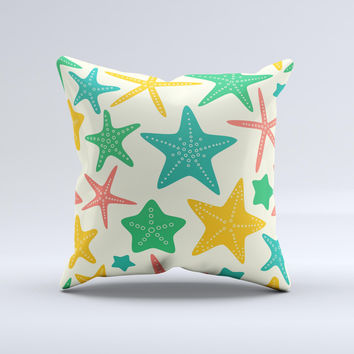 Tan And Colorful Vector StarFish ink-Fuzed Decorative Throw Pillow