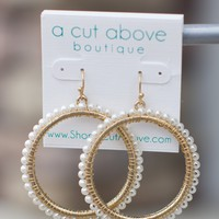 Southern Chic Pearl Hoops