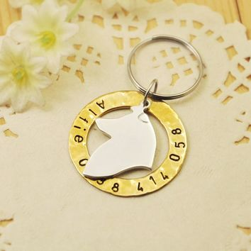 Hand stamped Rough Collie dog tag, Personalized dog tag, Customized Name & Phone number, Pet Jewelry, Dog Pet ID tag