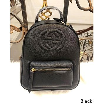 Gucci 2019 new men and women models double G embossed chain backpack Black