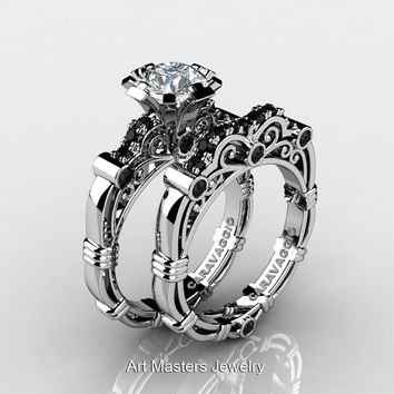 Art Masters Caravaggio 10K White Gold 1.0 Ct White Sapphire Black Diamond Engagement Ring Wedding Band Set R623S-10KWGBDWS